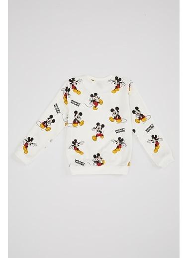 DeFacto Kız Çocuk Mickey Mouse Lisanslı Bisiklet Yaka Sweatshirt Ekru